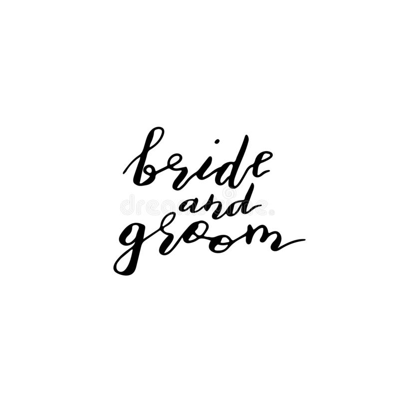 在词组新娘和新郎上写字的习惯手 手写的假日招呼的tex 库存例证