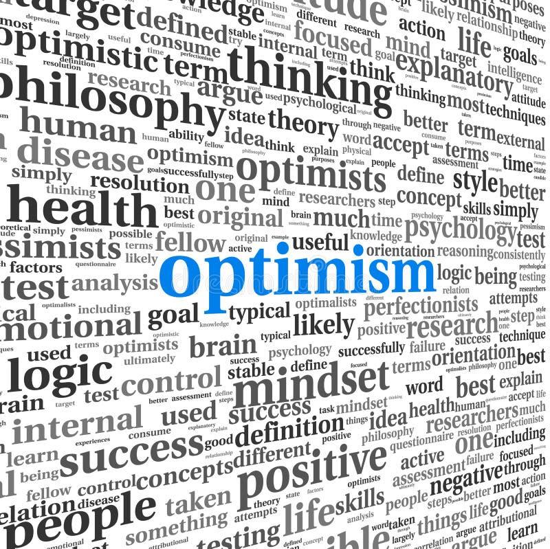 在词被隔绝的标记云彩的乐观概念 向量例证