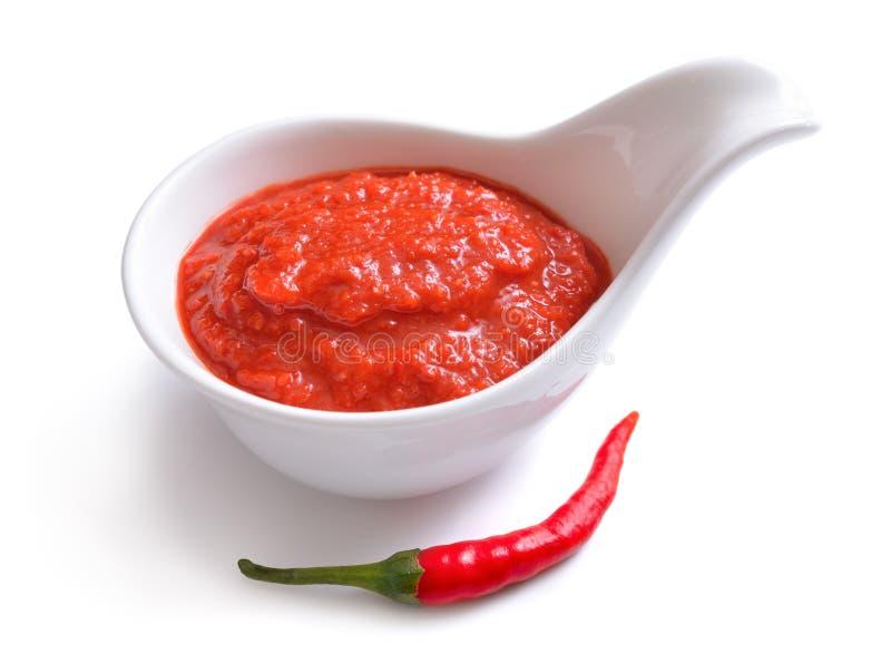 在调味汁瓶的红色辣味番茄酱 用胡椒 免版税库存照片