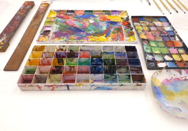 在调色板的颜色 库存图片