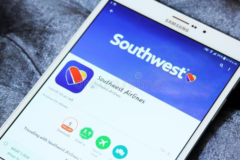 在谷歌戏剧的西南航空app商标 免版税图库摄影