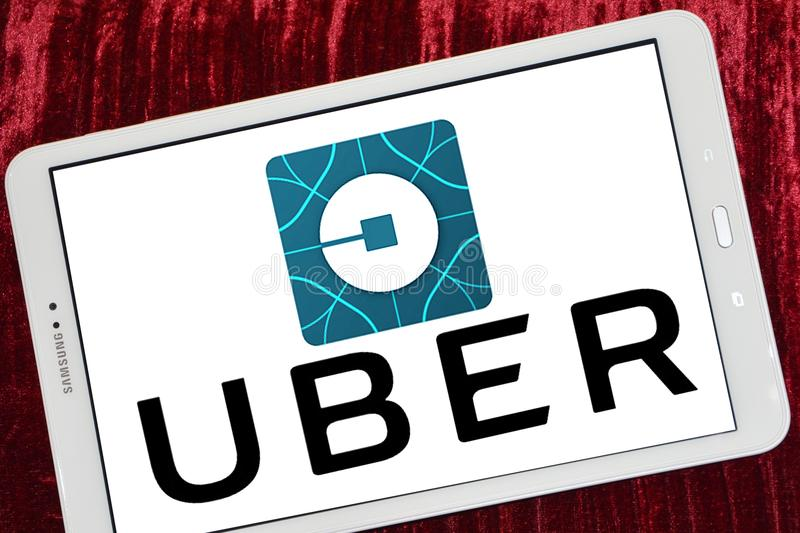 在谷歌戏剧的Uber出租汽车app 库存图片