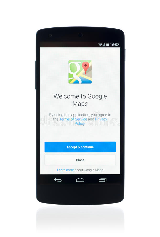 在谷歌连结5的Google Maps应用 免版税图库摄影