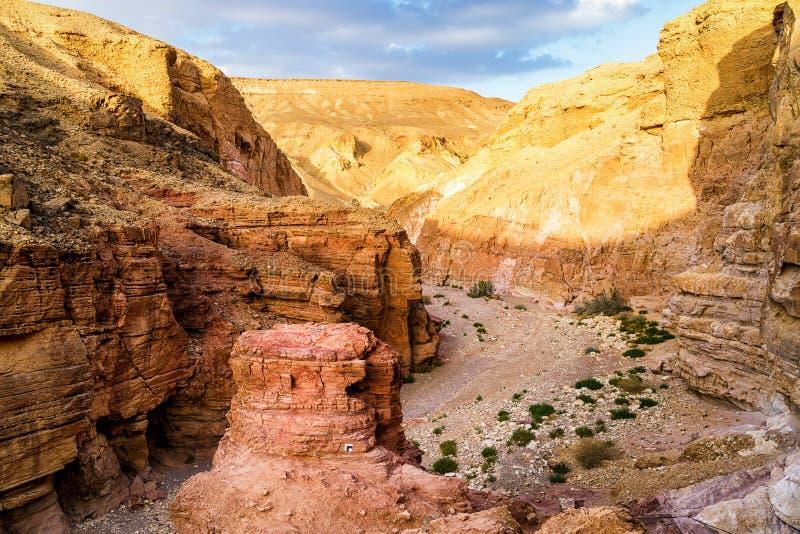 在谷的岩石在红色峡谷下在埃拉特市, Isra附近的沙漠 免版税库存照片