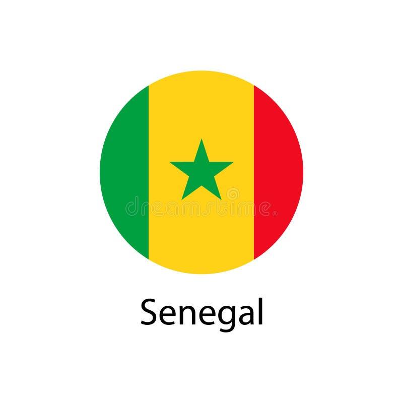 在象圆的按钮的塞内加尔旗子  皇族释放例证