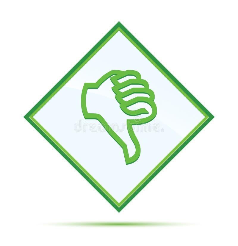 在象现代抽象绿色金刚石按钮下的拇指 库存例证
