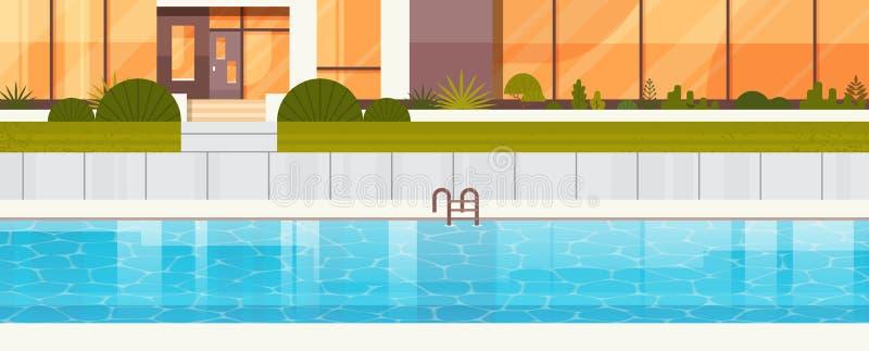 在豪华别墅议院,现代村庄外部附近的蓝色游泳池  向量例证