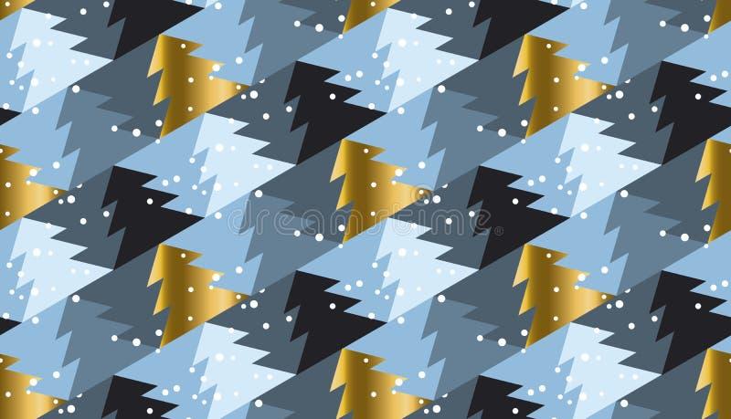 在豪华灰色的典雅的圣诞树无缝的几何样式 皇族释放例证