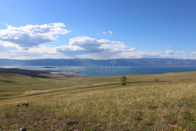 在贝加尔湖的西伯利亚干草原风景 免版税库存照片