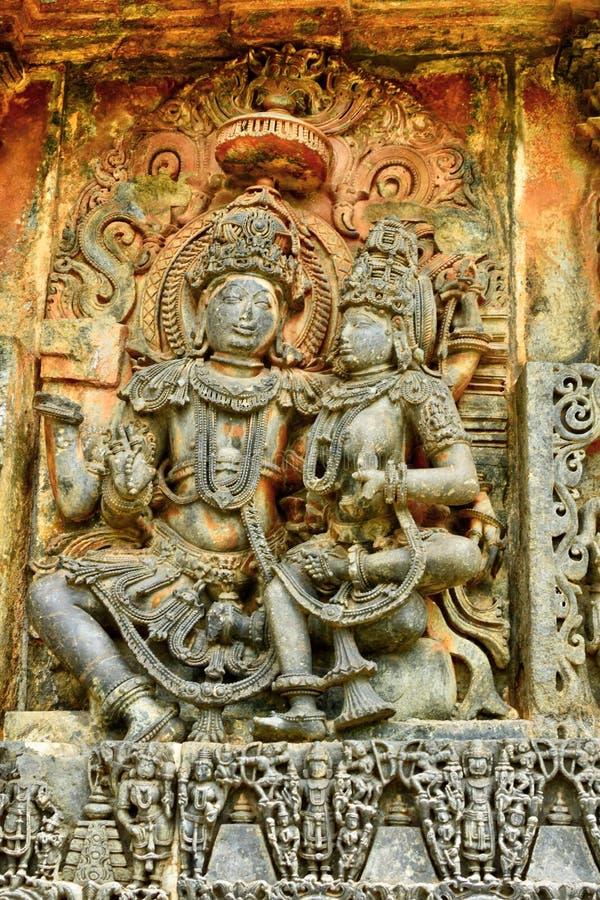 在贝鲁尔Chennakesava寺庙的美好的曷萨拉建筑学 免版税库存照片