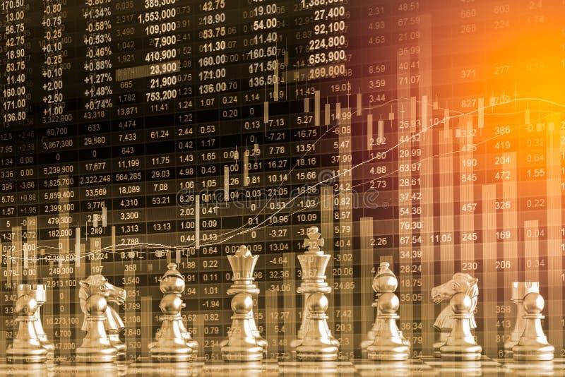 在财政数字式的股市和棋backgr上的事务对策 免版税库存图片