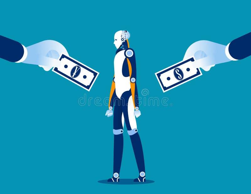 ?? 在货币之间的企业公司购买技术 概念企业传染媒介例证,货币,平的样式,动画片 库存例证