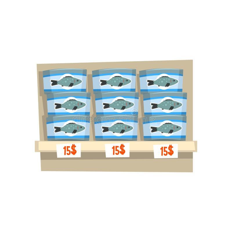 在货架,海鲜生产,鱼产业的罐装鱼装在白色背景的处理传染媒介例证于罐中 向量例证