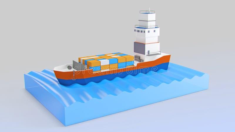 在货物海洋风帆船间 我自己设计 3d商业高象质量使成功不可达到 向量例证