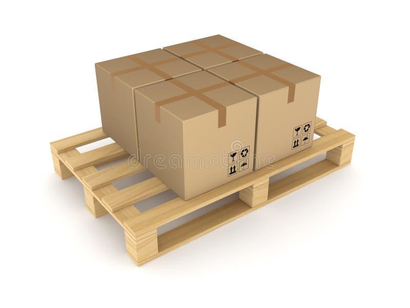 在货盘的纸盒配件箱。 库存例证