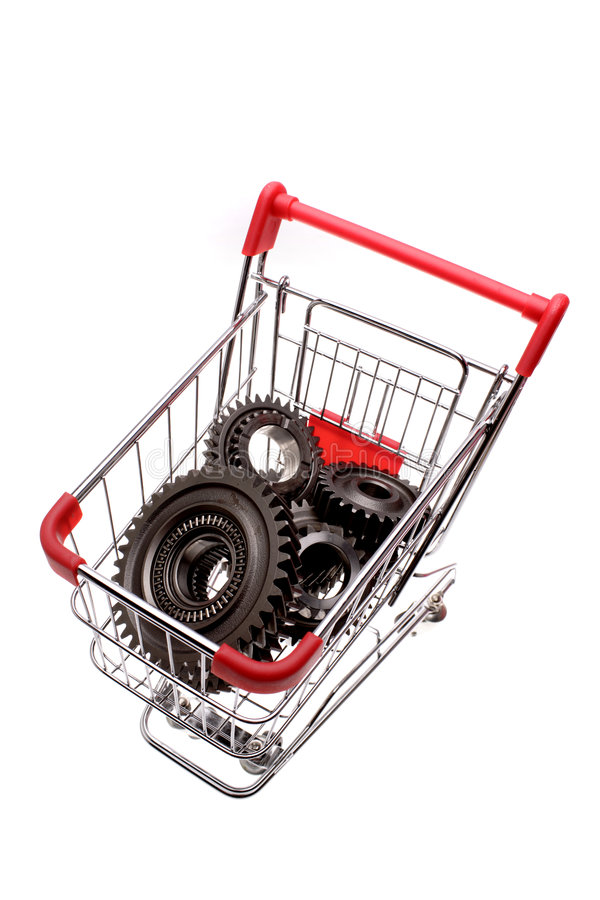 在购物台车里面的齿轮 库存照片