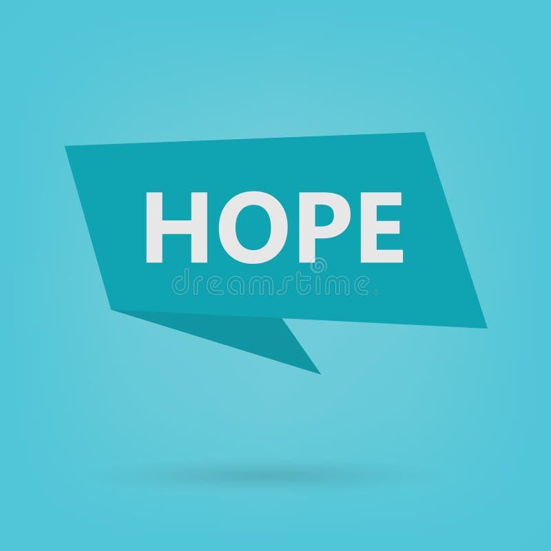 在贴纸的希望词 库存例证