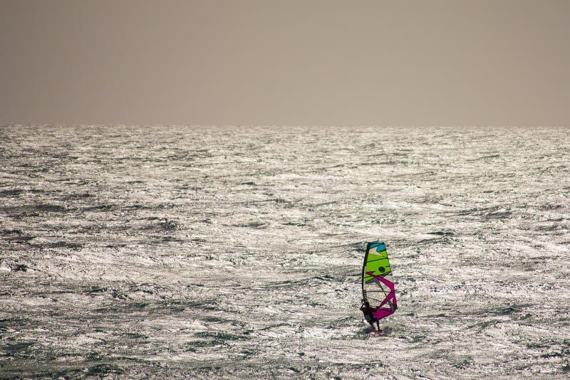 在费埃特文图拉岛风帆冲浪 免版税库存照片
