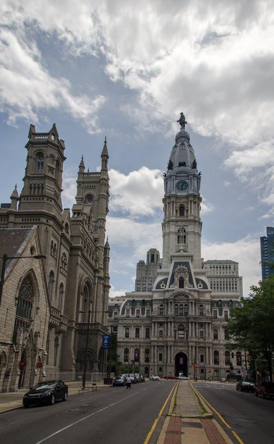 在费城大会堂,费城,宾夕法尼亚,美国历史建筑的看法日落时间的 库存照片