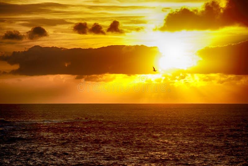 在费罗尔半岛海岸的日落在加利西亚,西班牙 免版税库存图片