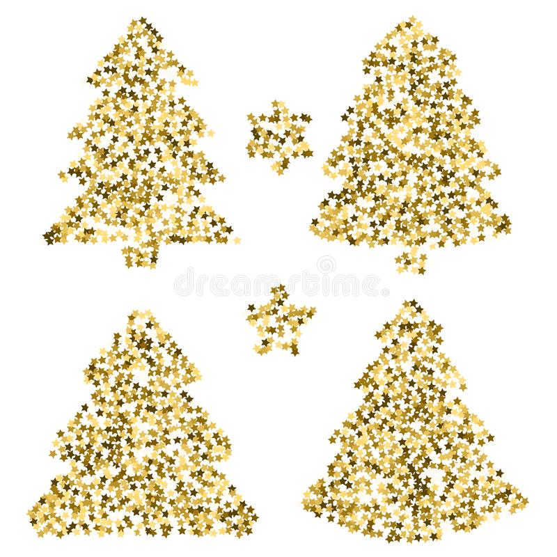 在贺卡的四棵圣诞树 与金黄st的传染媒介艺术 库存例证