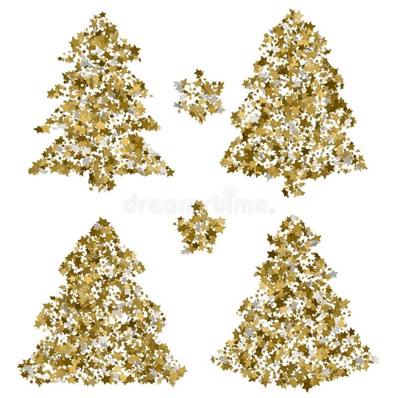 在贺卡的四棵圣诞树 与金黄st的传染媒介艺术 向量例证