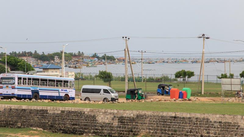 在贾夫纳堡垒旁边的渔村在斯里兰卡 免版税库存照片