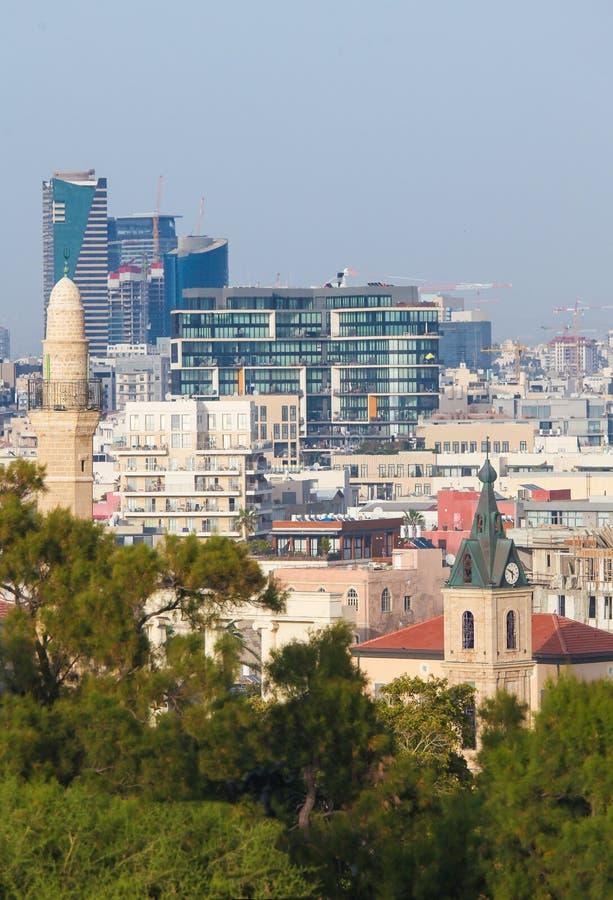 在贾法角的看法和特拉维夫,以色列地平线  免版税库存照片