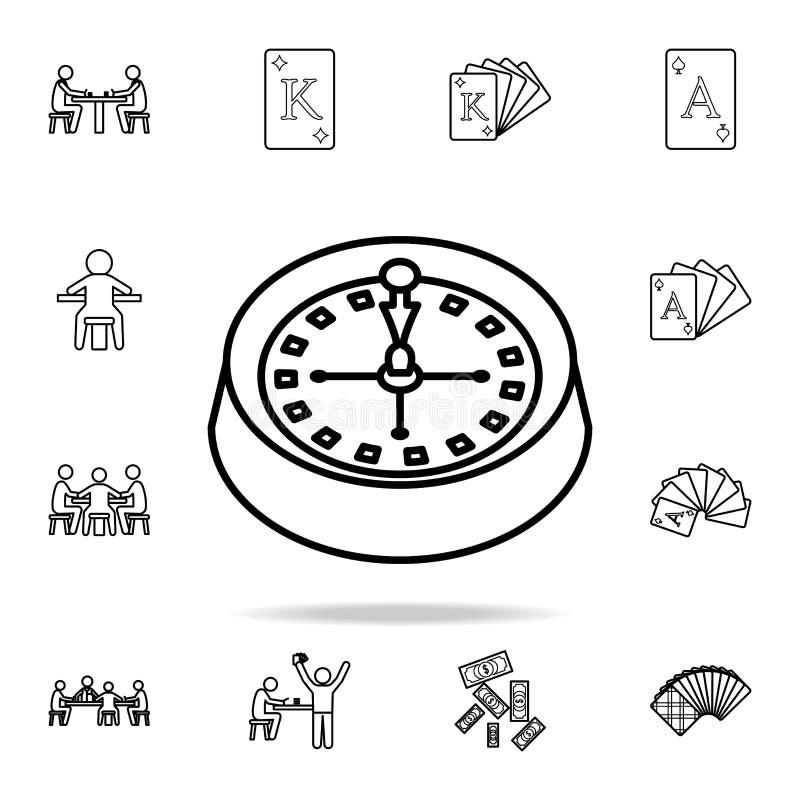 在赌博娱乐场象的轮盘赌 详细的概述套赌博娱乐场元素象 优质图形设计 其中一个汇集象为 库存例证