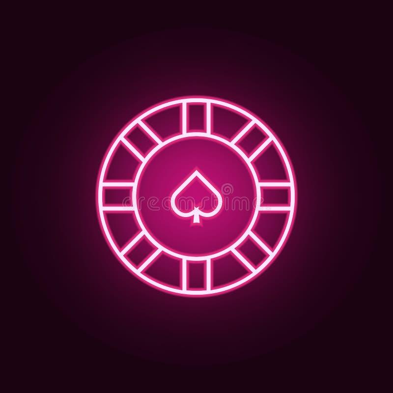 在赌博娱乐场霓虹象的芯片 网集合的元素 r 库存例证