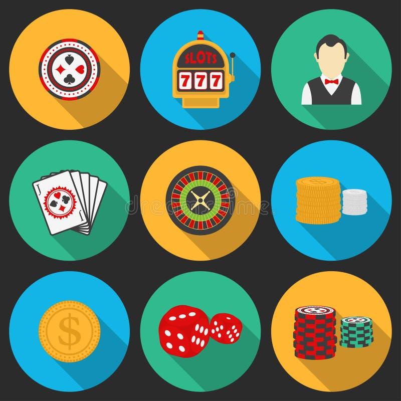 在赌博娱乐场题材设置的五颜六色的象 皇族释放例证