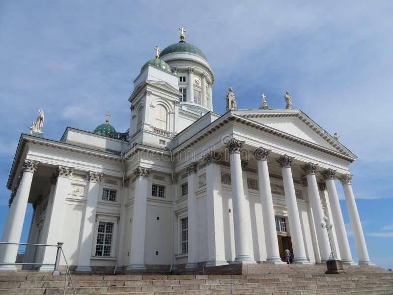 在赫尔辛基大教堂Helsingin tuomiokirkko的看法在芬兰 免版税图库摄影