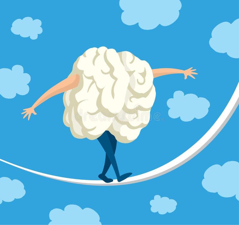 在走在串的平衡的脑子 向量例证