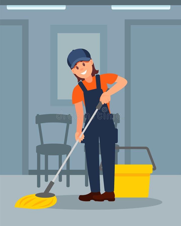 在走廊的快乐的妇女清洁地板 女孩运转的制服 五颜六色的平的传染媒介例证 向量例证