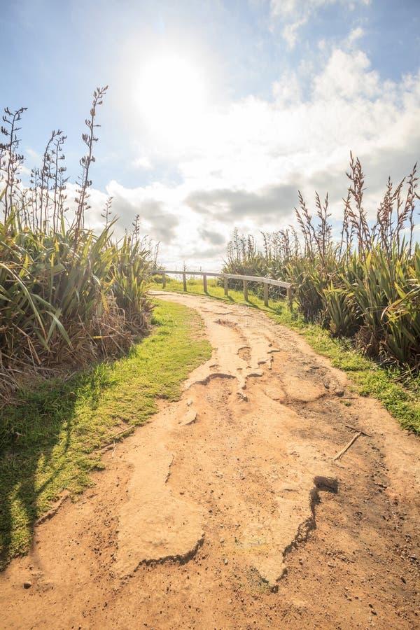 在走的轨道的田园诗日出,在的风景自然 库存照片