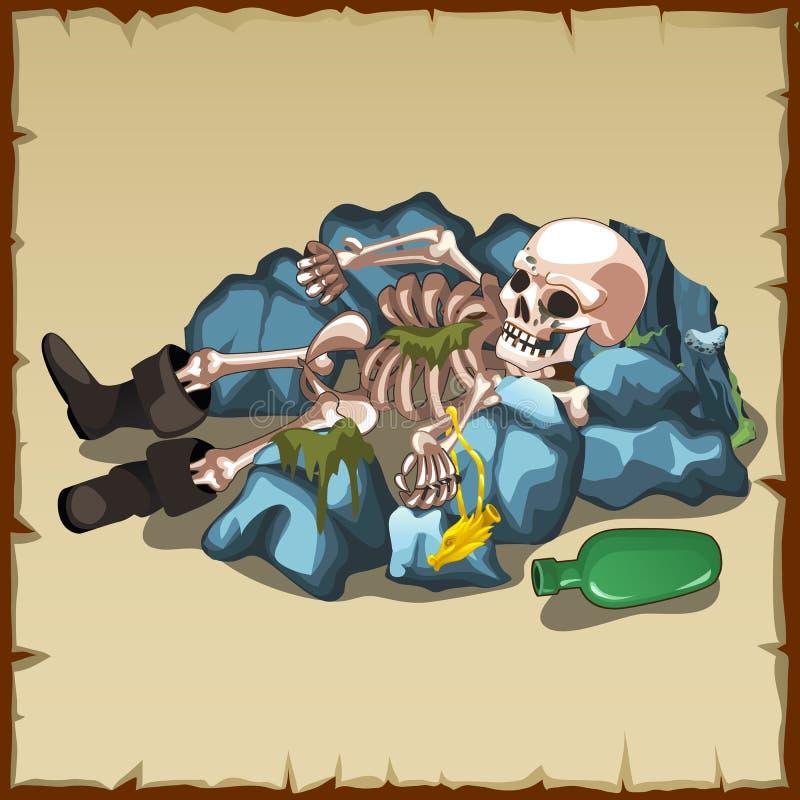 在起动的骨骼在与瓶的岩石说谎 皇族释放例证