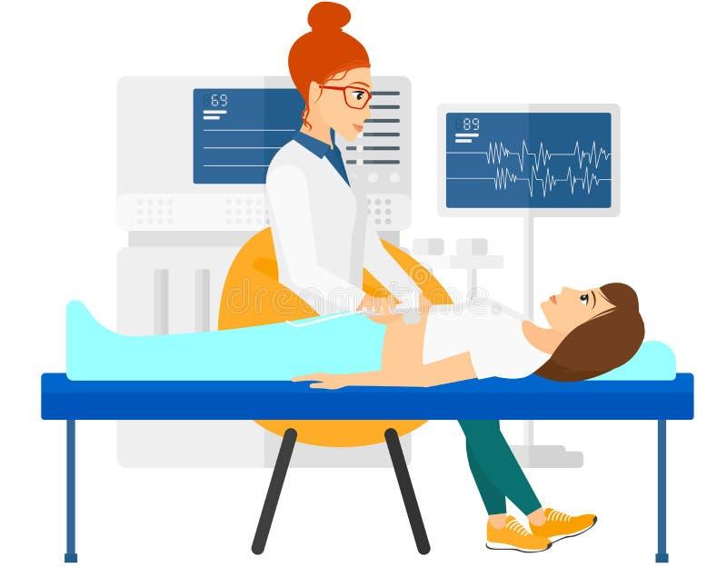 在超声波考试下的患者 向量例证