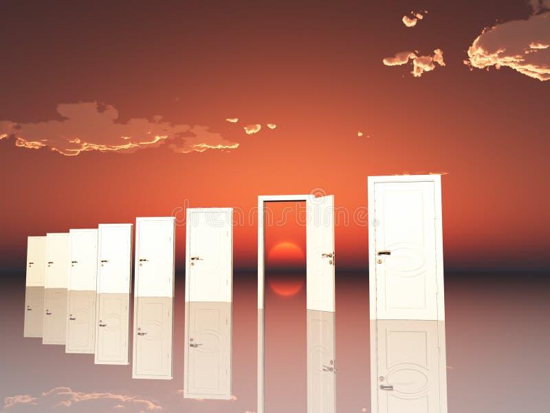 在超现实的横向的门 库存例证