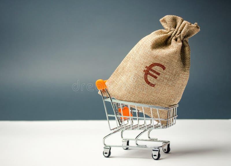 在超级市场台车和欧元标志的金钱袋子 货币管理 金融市场 销售、折扣和低价 礼券 免版税库存图片