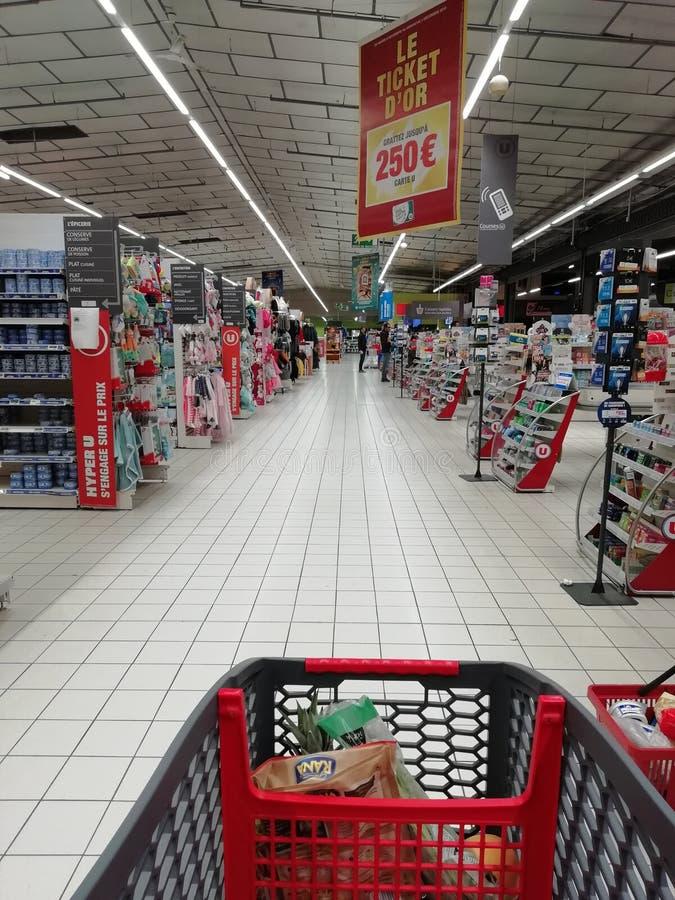 在超级市场的空的结算离开 免版税库存照片