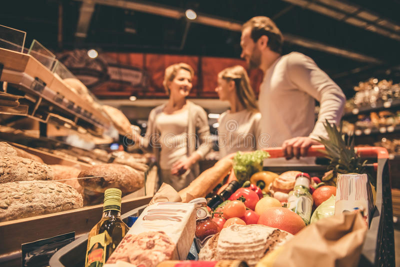 在超级市场的系列 免版税库存照片