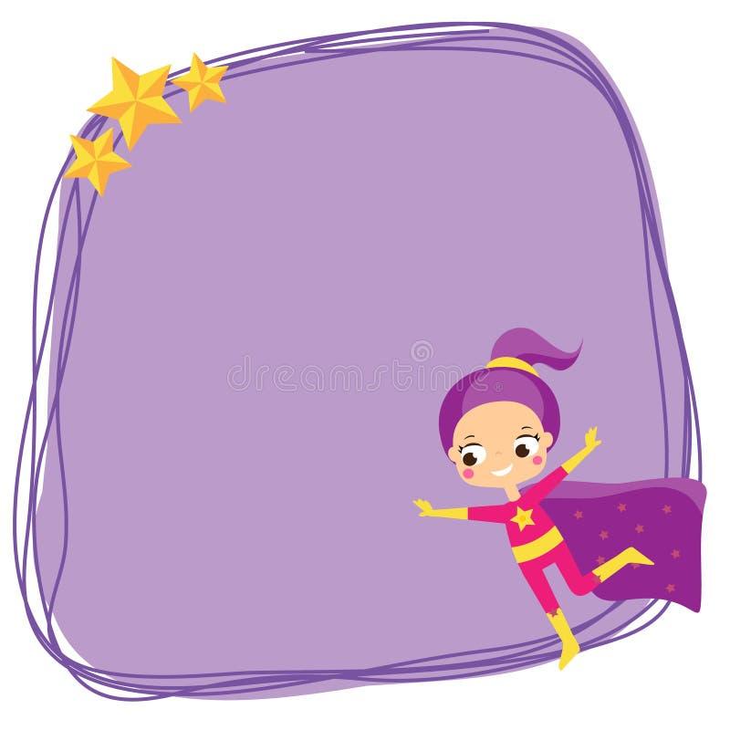 在超级英雄服装的逗人喜爱的女孩飞行 空白的背景、横幅孩子的和孩子设计 库存例证