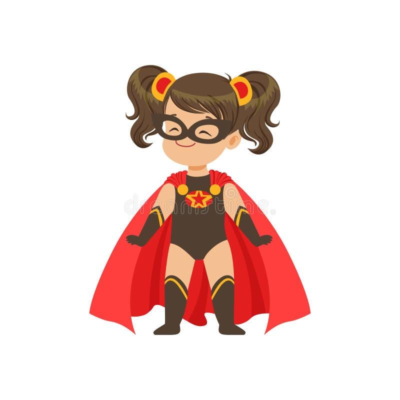 在超级英雄黑色服装的可笑的勇敢的女孩孩子有星,面具和开发的在风红色斗篷,站立在腿 皇族释放例证