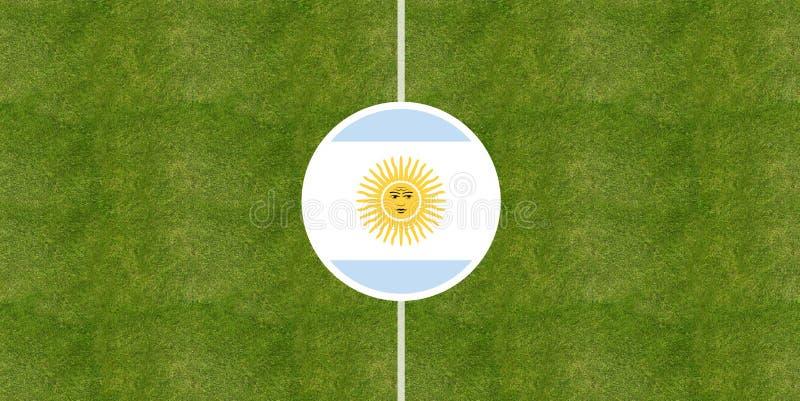 在足球场中心的阿根廷旗子 库存例证