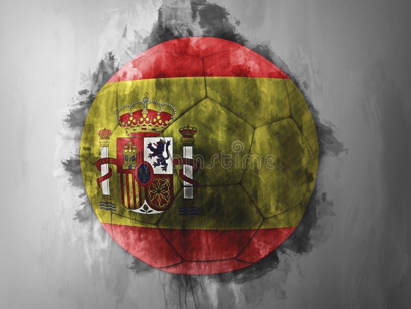 在足球的西班牙旗子 向量例证