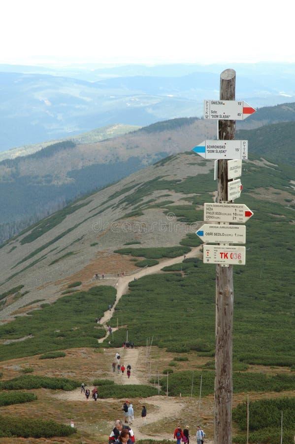 在足迹的标志在Karkonosze山