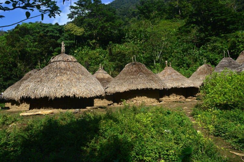 在足迹的Tairona小屋对失去的城市 免版税库存图片