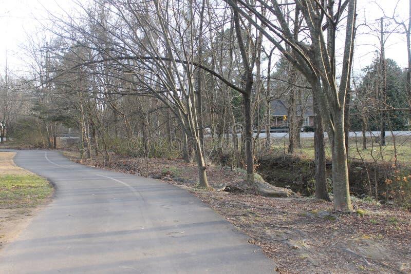 在跑的公园路的晴天 免版税图库摄影