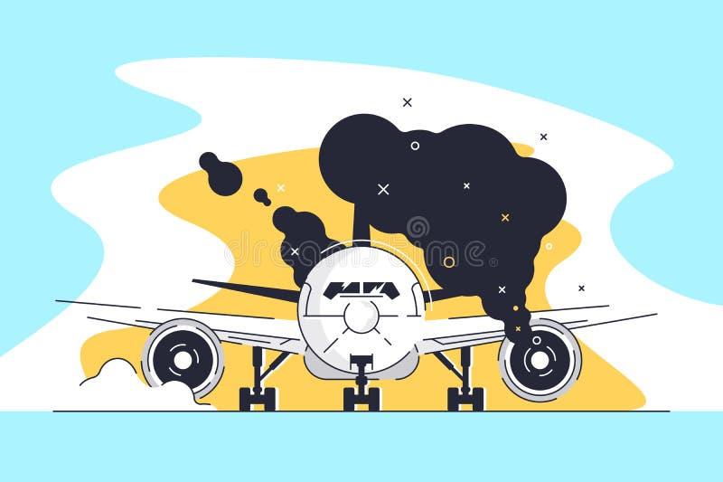 在跑道的平的灼烧的飞机在机场 向量例证