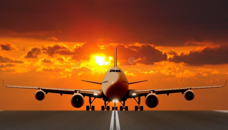 在跑道的空中飞机日落的 皇族释放例证